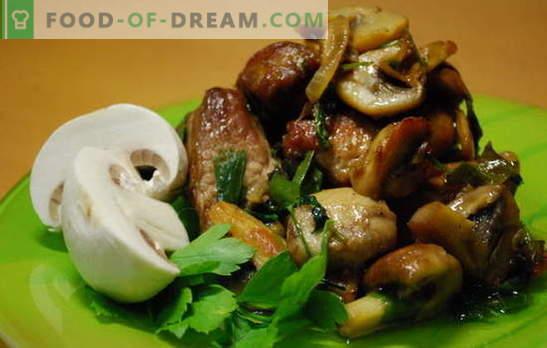 Месо с шампиони - аромат и вкус. Рецепти за месо с шампиньони: задушени, пържени, в пещ, на тиган, в бавен котлон