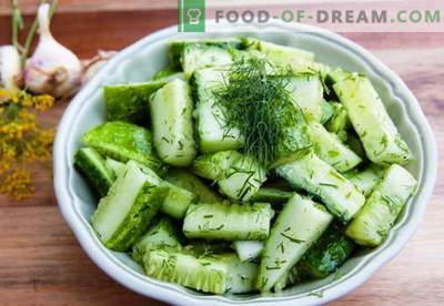 Gurķu salāti - labākās receptes. Kā pareizi un garšīgi gatavot gurķu salātus.
