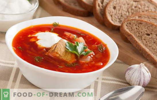Borsch: une recette classique avec de la viande est le rêve d'un homme! Nous partageons d'anciennes recettes de bortsch classique avec de la viande