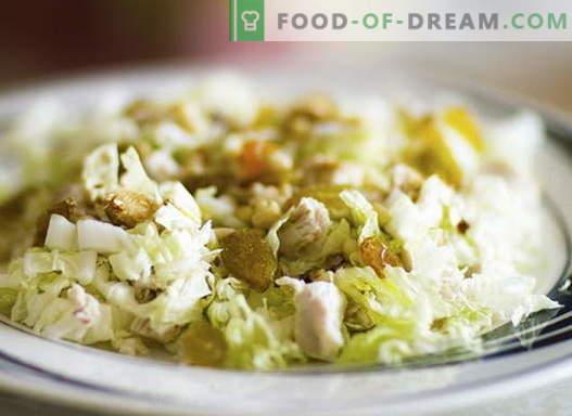 Салата с пиле и зеле - най-добрите рецепти. Готвене правилно салата от пиле и зеле.
