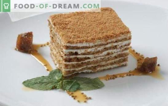 Торта за меден месец е много нежна! Прости рецепти за бутер и бисквити кисело-медена торта с различни кремове
