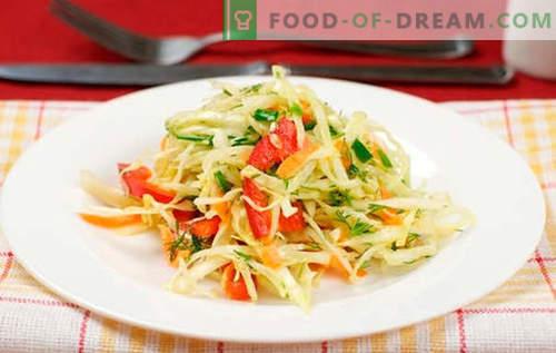 Зелена салата с чушки - най-добрите рецепти. Готвене на салата с зеле и сладък пипер.