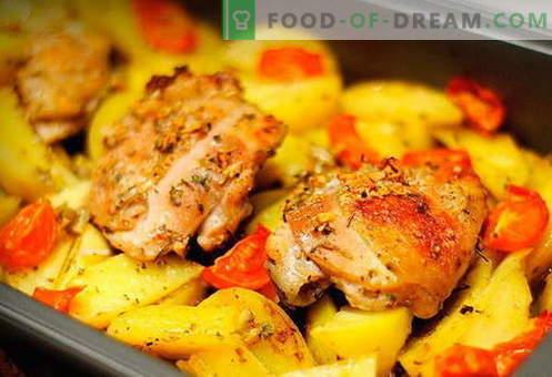 Пиле с картофи във фурната - най-добрите рецепти. Как да правилно и вкусно готви в пещта пиле с картофи във фурната.