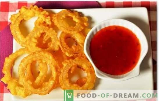 Лукови пръстени със сирене - изненада и храна! Лукови пръстени със сирене в тесто, в галета, с мляно