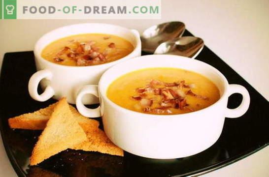 Градинска пюре - позната от детството. Опростени и оригинални рецепти от грахова супа пюре: с бекон, гърди, пармезан