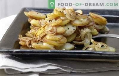 Batata frita com cebola - atemporal! Receitas de batatas fritas com cebola, cogumelos, carne, fígado, bacon