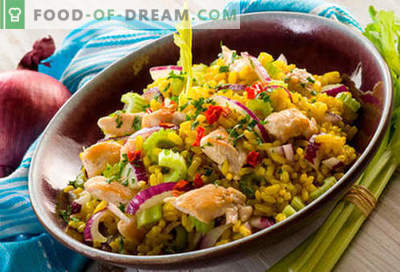 Rice salat - viis parimat retsepti. Kuidas õigesti ja maitsvaid riisi salateid valmistada.