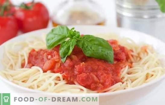 Спагети доматен сос е най-добрият начин за разнообразяване на едно просто ястие. Селекция от най-добрите рецепти за доматен сос за спагети