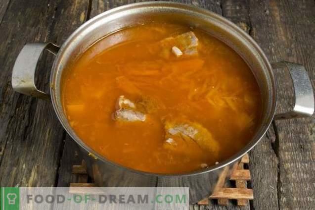 Супа с тиква, боб и свински ребра