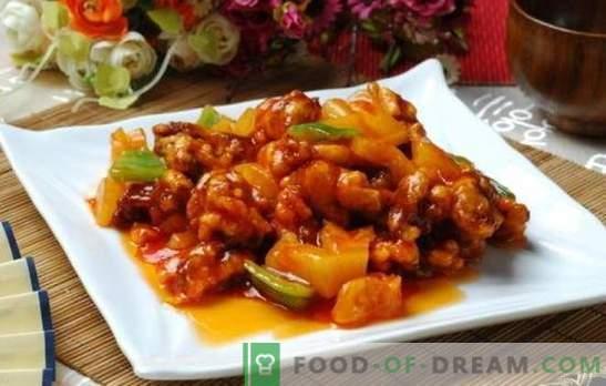 Liha magushapus kastmes hiina keeles on legend! Liha retseptid Hiina magushapus kastmes ananasside, köögiviljade ja teriyakiga
