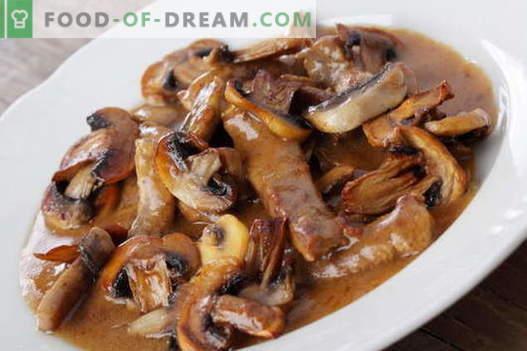 Carne con champiñones - las mejores recetas. Cómo cocinar adecuadamente y sabrosa la carne con setas.