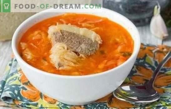 Супата в месото - винаги е вярно! Готвене на ароматна, вкусна зеле супа на месен бульон от прясно и кисело зеле според най-добрите рецепти