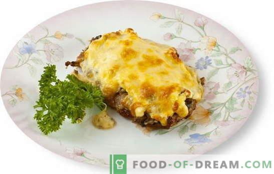 Месото с гъби и сирене във фурната е чудесно допълнение към гарнитурата. Най-добрите рецепти за приготвяне на месо с гъби и сирене във фурната