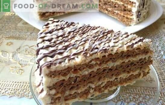 La torta de la oblea es simple y de buen gusto! Tortas de pastel de obleas rápidas con varias cremas