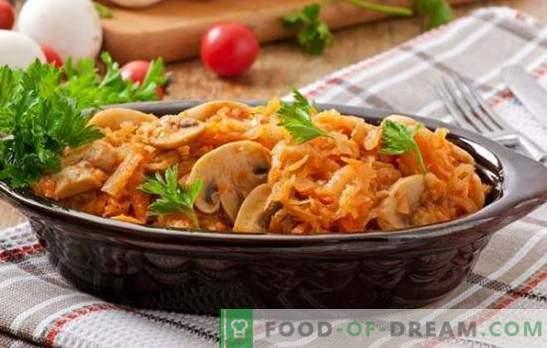 Постните ястия с гъби са отличен заместител на месото. Рецепти на различни постни ястия с гъби: салати, супи, бигус, гювечи