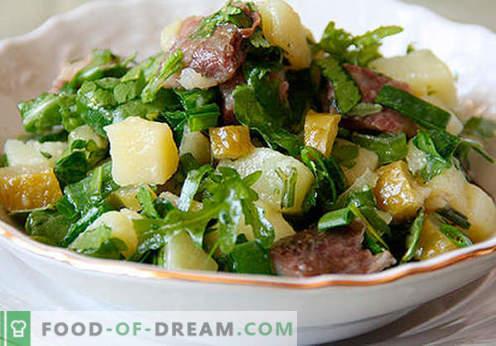 Салата с кисели краставици - селекция от най-добрите рецепти. Как да правилно и вкусно да се подготви салата с кисели краставички.