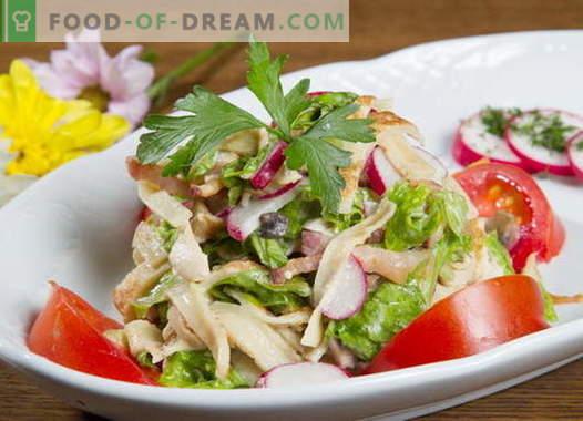 Салата от палачинки - селекция от най-добрите рецепти. Как да правилно и вкусно готви палачинка салата.