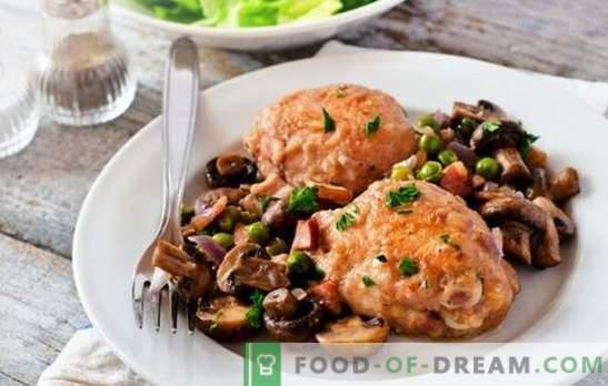Пиле с гъби в бавен котлон - перфектната комбинация. Най-добрите рецепти на пиле с гъби в бавен котлон: пълнени, жълтени и др.