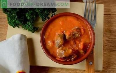 Hühnerkammerngulasch: ein schrittweises Fotorezept. Gericht für Sportler und Abnehmen - köstliches Gulasch von Hühnermagen