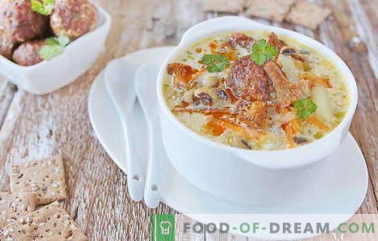 Супа с кюфтета - задоволяващо удоволствие! Различни рецепти за супа с кюфтета и боб, юфка, гъби, зеленчуци