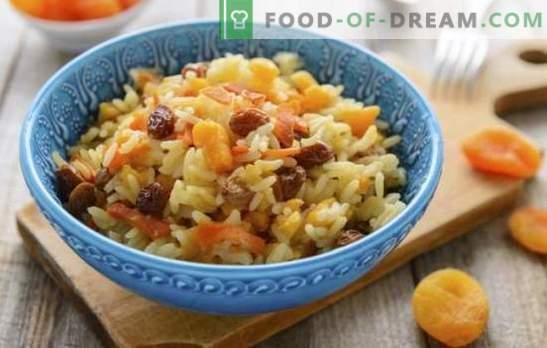 Пилаф със сушени кайсии и стафиди - оригиналните рецепти на традиционното ястие. Как да се готви ориз с сушени кайсии и стафиди в бавен котлон и котел