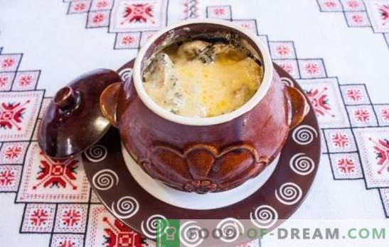Печете в саксия с гъби - приготвяме вкусна и ароматна чиния. Печете в саксии с гъби и месо във фурната