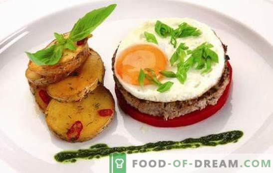 Бифтек с яйце: 2 в 1! Рецепти на различни пържоли с яйца от говеждо, свинско, пиле, ориз, цвекло, на френски