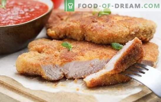 Свински котлет във фурната - класика! Избор на рецепти от свински пържоли във фурната: панирани, със сос и зеленчуци