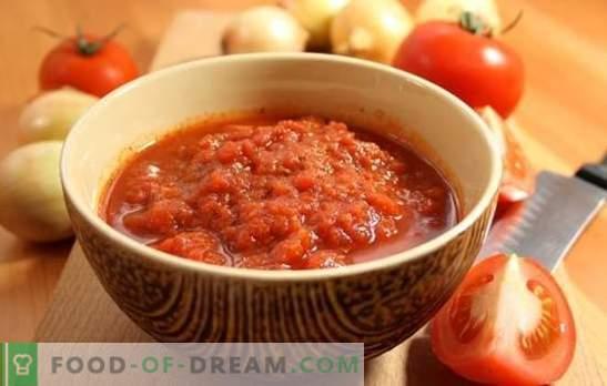Аджика от домати без чесън за зимата: резерв, няма да съжалявате! Различни рецепти от домати без чесън за зимата
