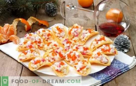 Закуски на чипове - необичайни и вкусни! Готвене на оригинални закуски на чипс от сирене, зеленчуци, раци, риба и пиле