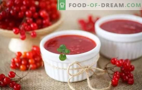 Viburnum jelly е едновременно лечение и лекарство. Приготвяне на желе от калина като десерт и за зимата, без камъни и без готвене, с тиква и мед