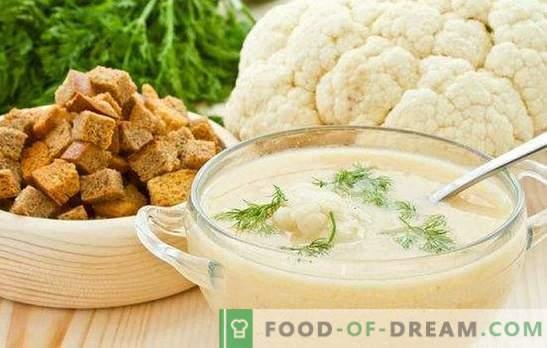 Супа от пюре от карфиол: диетична и нежна. Най-добрите рецепти за пюре от карфиол със сирене, месо, риба