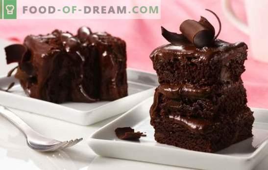 Naminis šokoladinis pyragas - viliojantis desertas! Paprasti receptai šokoladiniams pyragams su pyragais, surenkamieji, želė
