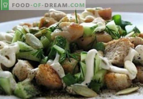Салата с кириешками - доказани рецепти. Как да правилно и вкусно варени салата с kirieshkami.