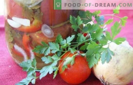 Салата от домати с лук за зимата: красива сладка и пикантна композиция. Колекция от най-добрите рецепти за салата за зимата с домати и лук