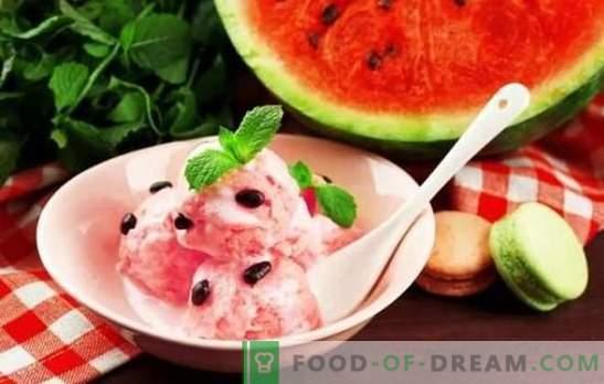 Glace à la pastèque - fraîcheur estivale! Les meilleures recettes pour la glace à la pastèque avec la crème, le lait, le yaourt, le melon, les bananes