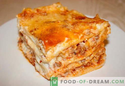 Лазаня с мляно месо - правилните рецепти. Как бързо и вкусно да готвя лазаня с кайма.