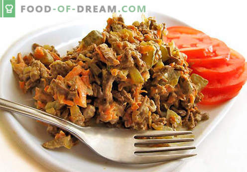 Aknu salāti - labākās receptes. Kā pareizi un garšīgi gatavot aknu salātus.