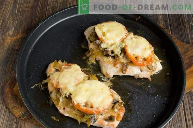 Пилешки пържоли със сирене и домати