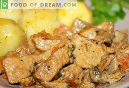 Свинско с гъби - най-добрите рецепти. Как правилно и вкусно да готвя свинско с гъби.