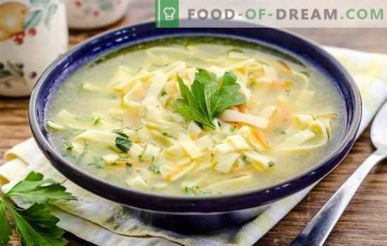 Супа от юфка - най-доброто ястие за обяд. Най-добрите рецепти за бульон от юфка: домашно, пшеница, ориз и елда