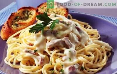 Pasta carbonara sinki ja koorega - buon appetito! Itaalia Carbonara Pasta retseptid sinki ja kreemiga